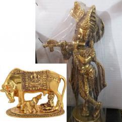 Kamdhenu Cow-Calf and Lord Krishna Idol showpiece and Lord Krishna With Flute