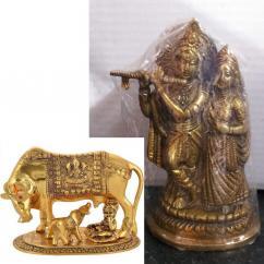 Combo 2 Statue God Radha Krishna and Cow - Calf Idol-Home Temple Showpiece -on