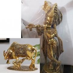 Brass Lord Krishna Flute Playing with  Cow - Calf Idol Figurine Decorative Show