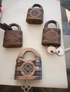 Towne and Yale (4) original vintage brass locks