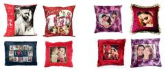 Fabric Personalized Red Heart Shape Fur Pillow with Your Photo