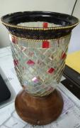 Exquisite & Rare STAINED GLASS Candle Stand
