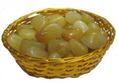 Yellow Aventurine Pebbles with Basket