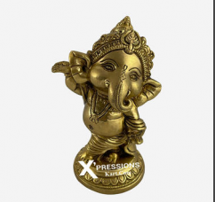 Brass Dancing Ganesh With Base 5 Inches
