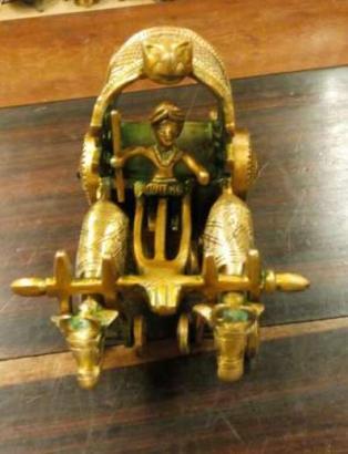 Old bronze bull cart