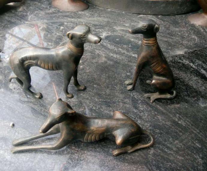 Old bronze Dog Set for sale