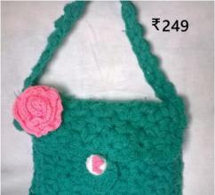 Woollen Bags In Green Color