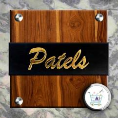 Brass Name Plate with wooden for interior purpose