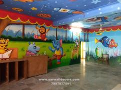 Nursery themed wall painting in Hyderabad