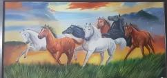 7 Horse Canvas Painting with wooden frame