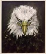 Original oil hand painting of Bald eagle on canvas.