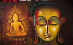 Oil painting on canvas buddha