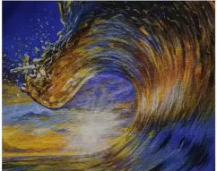 An acrylic painting of a sunset wave