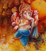 Original Abstract Lord Ganesha Handmade Oil Canvas Painting