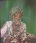 Beautiful painting of Old man with musical instrument.