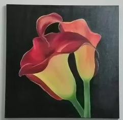 Red tulip painting made in cloth canvass and acrylic paint
