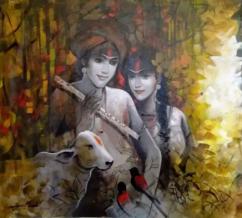 Handmade acrylic Radha Krishna painting