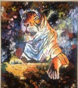 Acrylic lion knife painting