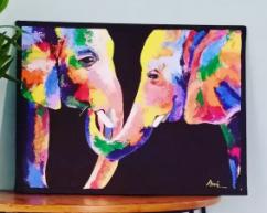 Handmade Colourful Elephants Canvas Painting