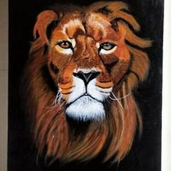 Realistic Lion Acrylic Painting