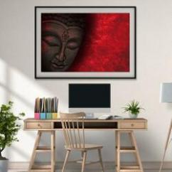 Gautam buddha art and red canvas painting