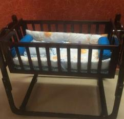 Wooden Cradle For Little Baby In Less Used Condition