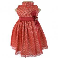 Dotted Maroon And Gold Dress For Your Little Angel