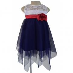 Stunning Blue & White Hankerchief Hem Dress For Your Little Diva