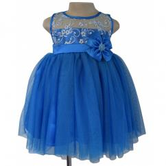 Blue Embroidered High Low Dress For Your Little Princess From Faye