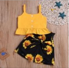 Lovely casual and stylish sunflower and letter print dress for girls