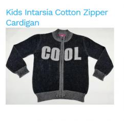 Kids Intarsia Cotton Zipper Cardigan