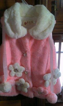 Fashionable Pink and White Baby Girl Winter Jacket