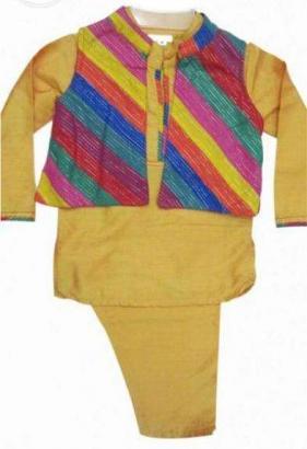 Yellow Coloured Kurta Pajama With Multicoloured Jacket