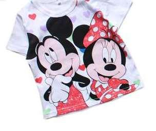 T-shirt with Mickey and Minnie Mouse Print