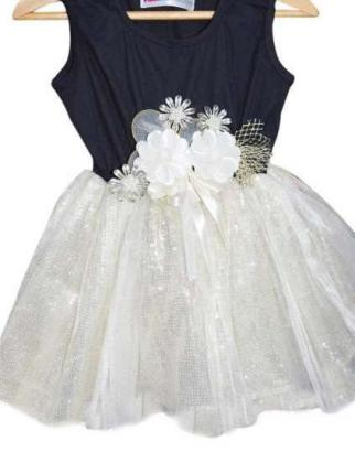 Georgeous Black And White Coloured Frock In Shimmer Fabric