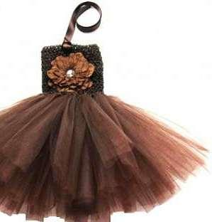 Sleevless Short Dress For Baby Girl In Brown Colour