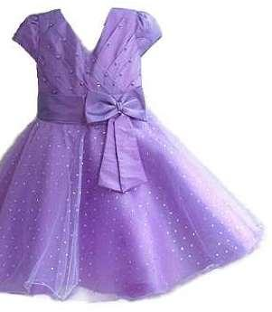 Purple Coloured Gorgeous Baby Girl Dress In Shimmer Fabric
