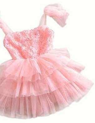 Designer And Cute Pink Coloured Partywear Dress