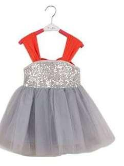 Gorgeous Grey Frock In Net Fabric With Red Cut Sleeves