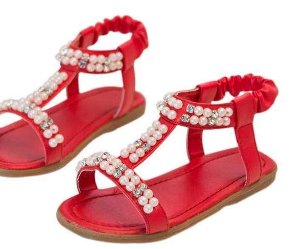 Baby Girl Fancy Sandals With Pearl In Red Colour