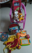 Kids Chair and Soft toy 2 and school bag and other toys for sale