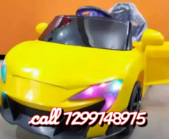 Yellow rechargeable kids sports car