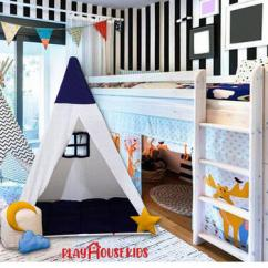Triplet White Blue Play House Large Tent for Kids