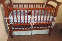 Sleeping Cot In Solid Wooden For Little Baby