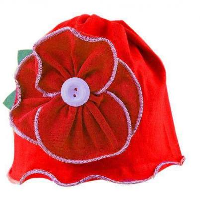 Lovely Red Flower Beanie Hat for Small Baby