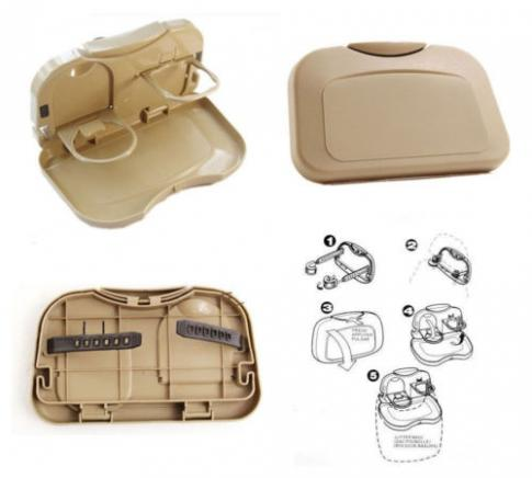 BEIGE COLOUR - Car Travel Food / Drink Tray holder Dining Car Accessories