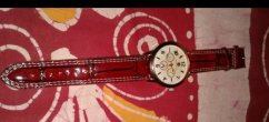 Brown Leather Strap Silver Chronograph Watch only 2 days old