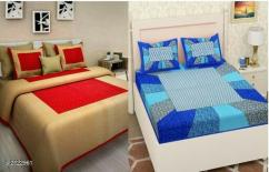 Dream Home Modern Cotton Double Bedsheets Combo