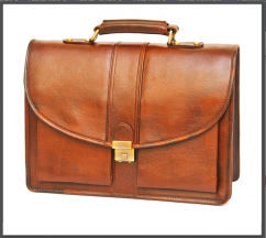 Tan Laptop Bags For Men with Round Flap