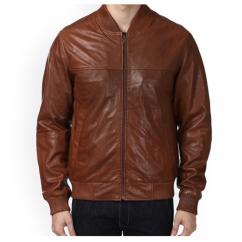 Park Avenue Men Solid Brown Leather Jacket